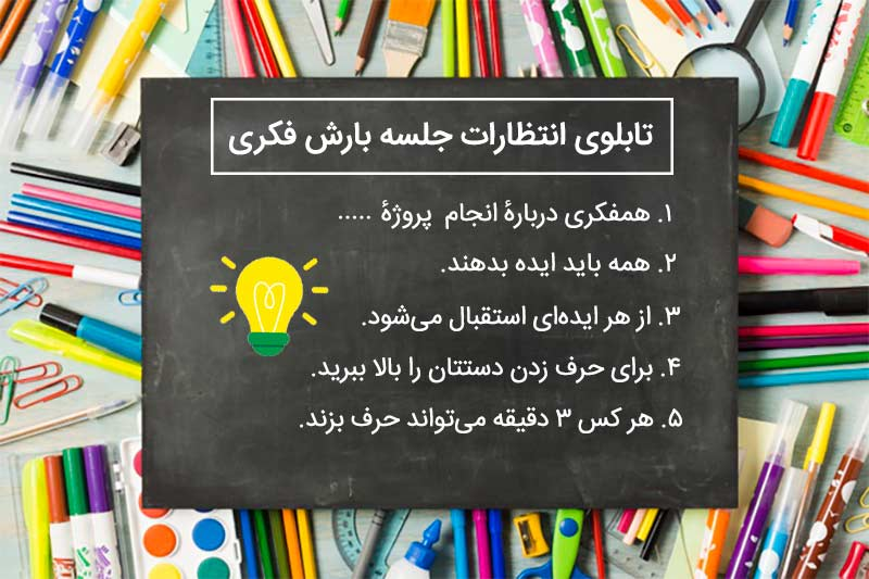 طراحی-تابلوی-انتظارات-بارش فکری- ترفند-طراحی-ارائه